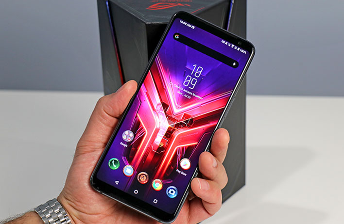 small Asus ROG Phone 3 front in hand